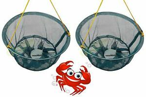 SET OF 2 CRAB DROP NETS WITH BAIT HOLDER & 11M ROPE FISH CRAYFISH LOBSTER PRAWN