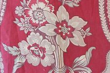 """French Vintage Provencal Printed Curtain Tolie Fabric c1920~  1yd 7""""L X 29""""W"""