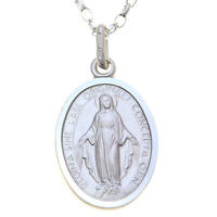 """STERLING SILVER MIRACULOUS MARY MEDAL -  MADONNA PENDANT NECKLACE WITH 18"""" CHAIN"""
