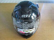 GREX Nuevo Full Face Llano Negro Casco De Motocicleta 56 pequeñas
