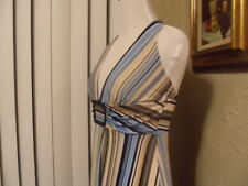Vtg ALYN PAIGE Blue Tan Mod Striped Stretch Knit Hippy Boho Halter Sun Dress S