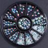 3D Nail Art Tips Studs Gem Crystal Glitter Rhinestone DIY Decoration Wheel Pro·