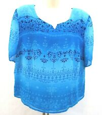Plaza South Women's Petite Blouse Size 20 P Green Blue Floral Semi Sheer Lined
