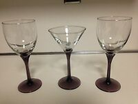 LIBBEY DOMAINE GLASSES - 2 WINE AND 1 MARTINI GLASSES - 3 TOTAL