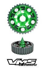GREEN VMS RACING ADJUSTABLE CAM GEAR + SPIKED BOLT FOR HONDA SOHC D15 D16
