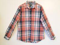EDDIE BAUER Mens Shirt Large Button Up L/S Cotton Orange Blue Plaids Casual