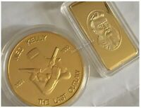 NED KELLY Australia's Last Outlaw, Unmasked. Coin + 10G Ingot. Heavy Gold finish