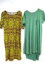 Lot of 2 LuLaRoe Women's Dresses Size 2XL Carly Tee Shirt Bodycon Julia Yellow
