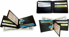 Lot of 3 New man's leather Black bi fold wallet 12 credit cards 2 billfolds ID