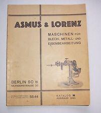 Katalog Asmus & Lorenz Maschinenbau Blech Metall Eisenbearbeitung 1930 !