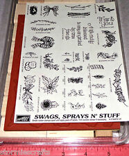 Stampin Up Swags Sprays N Stuff Wood Stamp Set Country Themed Flowers Thank you