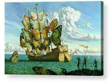 More details for salvador dali style butterfly boat repro canvas box print a4, a3, a2, a1