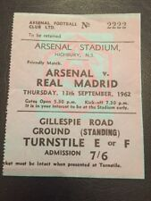 Billete: Arsenal V Real Madrid 13/09/1962 amistoso