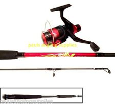Shakespeare Firebird  8 ft  Red / Black Spinning Fishing Rod . Reel and line