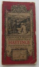 Ordnance Survey Map of Hastings, England & Wales Linen Early