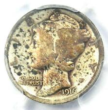 1916-D Mercury Dime 10C Coin - Certified PCGS VG Details - Rare Key Date Coin!