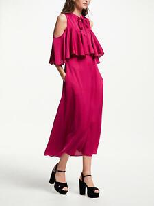 New Somerset by Alice Temperley Cold Shoulder Satin Dress, Pink, UK 14, RRP £160