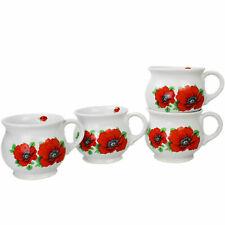 TASSEN 4 X TASSE SET - Keramik Becher Tee- Kaffeebecher Trinkbecher Suppentassen