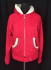 Girl Star Red Hooded Hipster Jacket Fleece Trim Embroidery Accent Women's M