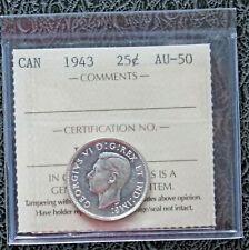 1943 CANADA Silver Quarter - ICCS AU50