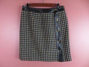 SK09221- TALBOTS Woman 100% Wool Pencil Skirt Faux Leather Metal Decor Sz 12