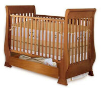 New Nursery Baby Sleigh Crib, Woodworking Plans, Cutting List & Drawing Included