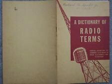 1946 A DICTIONARY OF RADIO TERMS  DE FOREST TRAINING  ELECTRONICS TELEVISION