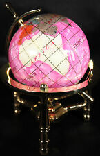 Multi-Gemstone 90mm Desktop Globe In Rose Red Pearl on Gold Tone Base Free S&H