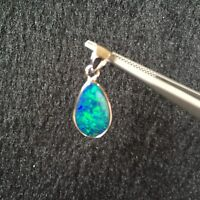 Doublet OPAL pendant S925 coated W/Rhodium 6.53cts Sparking blue&green #110
