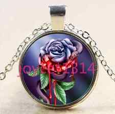 Snake and Rose flower Cabochon Tibetan silver Glass Chain Pendant Necklace #2600