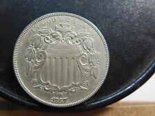 1867 SHIELD NICKEL, RARE FLETCHER F-04 RE-PUNCHED DATE, LIGHT CLEANING