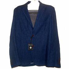 Thaddeus Men's Navy Fashionable Linen Blazer Jacket Size 44 R NEW $450