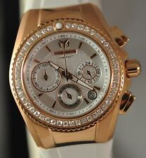 New Womens Technomarine 115234 Cruise Diamond Chrono MOP Dial Silicone Watch