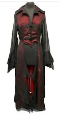 Gothic Victorian Romantic Long Jacket Red Black Ml