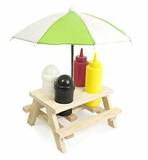 CONDIMENT HOLDER PICNIC BENCH UMBRELLA SET SALT PEPPER SAUCES WOODEN OUTDOOR NEW