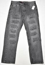 $50 NWT Mens Southpole Jeans Distressed Slim Straight Denim Black 38x32 38 N541