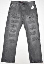 $50 NWT Mens Southpole Jeans Distressed Slim Straight Denim Black 38x32 38 N541