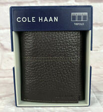 Cole Haan Mens Trifold Wallet Genuine Leather Pebbled Brown New Box Christmas