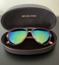 Michael Kors Pink Clear Mirrored Aviator Sunglasses With Case