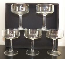 """Set of 5 Crystal Champagne Glasses ~ Frosted S Engraved ~ 4.5"""" tall"""