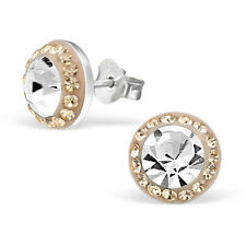 925 Sterling Silver Earrings - Bulbous Round Studs with Clear & Peach CZ -Boxed