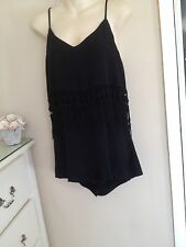 BLACK PLAYSUIT JUMPSUIT CULOTTES SHORTS WITH CROCHET FRINGE M 10 / 12 ish