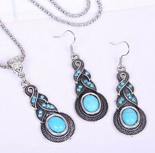 Costume Jewelry Silver Turquoise Rhinestone Diamante Earrings Necklace Sets 、New