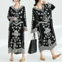 womens Tunic Cotton Linen V Neck Embroidery Floral Loose Baggy Dress Long Sleeve