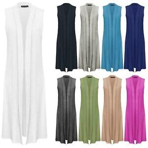Womens Long Midi Sleeveless Open Front Plain Cardigan Top Ladies Waistcoat 8-26
