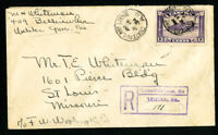 Canada Stamps 201 Registered Cover w/ 8x Backstamps Unusual Well Travelled Cover