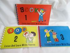 1966 Listen and Learn with Phonics - Book 1, 2 & 3 / Educational Spelling School