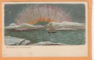 Nordlicht mit Farbenstrahlen Norway 1900 Postcard