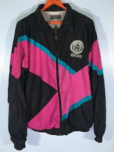 Vintage 1980s Versace WindBreaker Neon Nylon Jacket Sport Retro Oldschool M