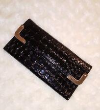 ANN TAYLOR Women's Patent  Leather Wallet Croc Embossed Envelope